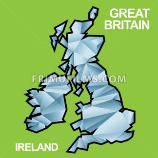 Digital vector great britain and ireland map with abstract blue triangles and black outline, flat style - frimufilms.com