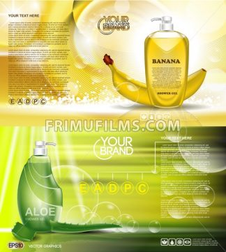 Digital vector green and yellow shower gel cosmetic container mockup, your brand, ready for print ads design. Banana fruit, aloe vera and soap bubbles. Transparent, shine, realistic, 3d, reflection - frimufilms.com