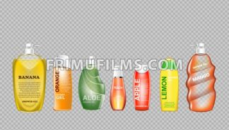 Digital vector green and yellow shower gel set cosmetic container mockup, your brand, ready for print ads design. Banana fruit, aloe vera and mango. Transparent, shine, realistic, 3d, reflection - frimufilms.com