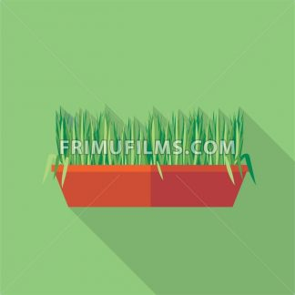 Digital vector green decorative grass in brown pot, flat style - frimufilms.com