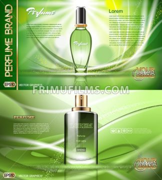 Digital vector green glass perfume for men and women container mockup, with your brand, ready for print ads or magazine design. Transparent and shine, realistic 3d style - frimufilms.com