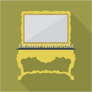 Digital vector green vintage table and mirror isolated, flat style - frimufilms.com