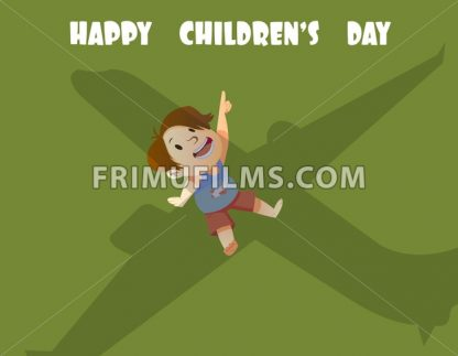 Digital vector happy children day card, little kid looking at an airplane, shadow - frimufilms.com