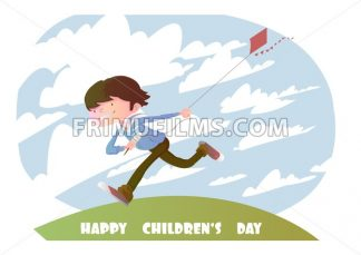 Digital vector happy children day card, running kid with a kite and clouds - frimufilms.com