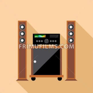 Digital vector hi-fi audio system with monitors and furniture, flat style - frimufilms.com