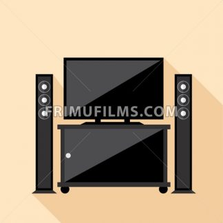 Digital vector hi-fi audio system with monitors and tv set with furniture, flat style - frimufilms.com