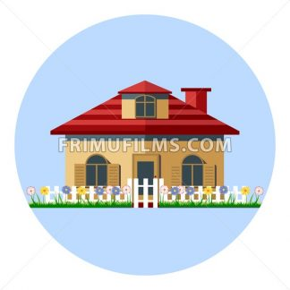 Digital vector house icon with garden, flowers and green grass, red roof in stripes, flat style - frimufilms.com