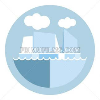 Digital vector iceberg and glacier icon, clouds and ocean water, global warming, flat style - frimufilms.com