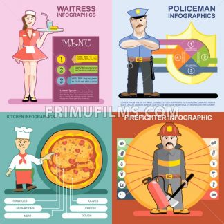 Digital vector infographics icon set, waitress, kitchen and pizza, police and firefighter, flat style - frimufilms.com