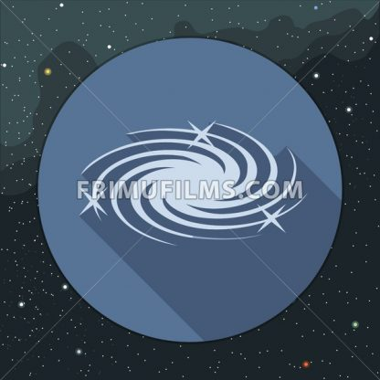Digital vector milky way galaxy icon with stars, over stelar background, flat style. - frimufilms.com