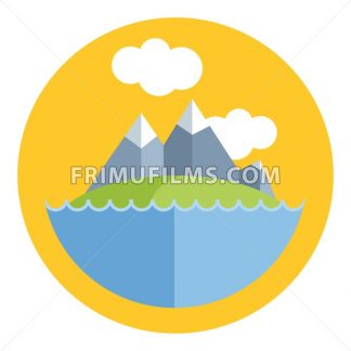 Digital vector mountain with white ice on top, blue water and green grass, flat style - frimufilms.com