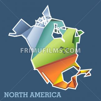 Digital vector north america map with abstract colored triangles and white outline, flat style - frimufilms.com