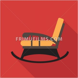 Digital vector orange and black vintage rocking chair over red background isolated, flat style - frimufilms.com