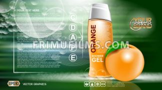 Digital vector orange and green shower gel cosmetic container mockup, your brand, ready for print ads or magazine design. Orange fruit and soap bubbles. Transparent, shine, realistic 3d, reflection - frimufilms.com