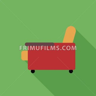 Digital vector orange and red armchair icon with shadow over green background, flat style - frimufilms.com