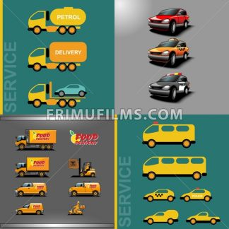 Digital vector orange and red auto car icon set, food delivery, police, taxi, truck, ambulance and service. - frimufilms.com