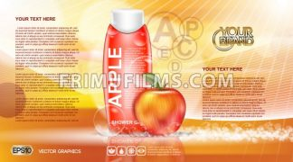 Digital vector orange and red shower gel cosmetic container mockup, your brand, ready for print ads or magazine design. Apple fruit and soap bubbles. Transparent, shine, realistic 3d, reflection - frimufilms.com