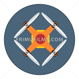Digital vector orange drone with recording camera, in dark circle, flat style - frimufilms.com