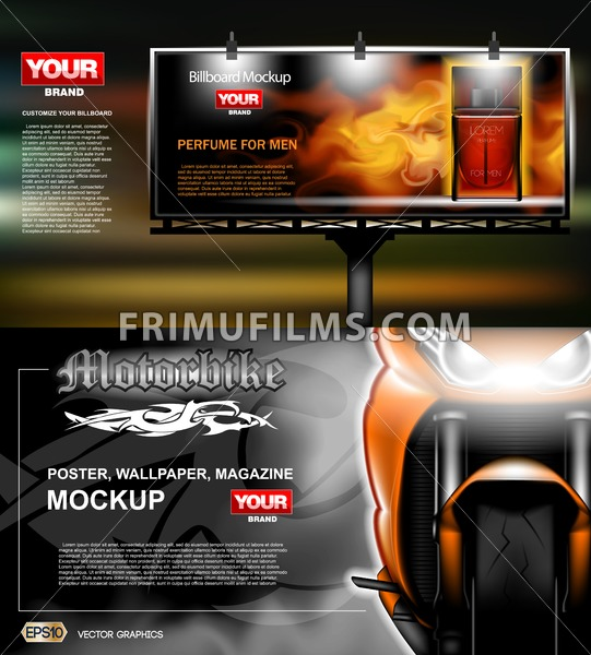 Digital vector orange new modern sport motorcycle close up mockup, red perfume with fire for men. Your brand, motor show and exhibition, lights on. Dark background, white fog. Realistic 3d - frimufilms.com