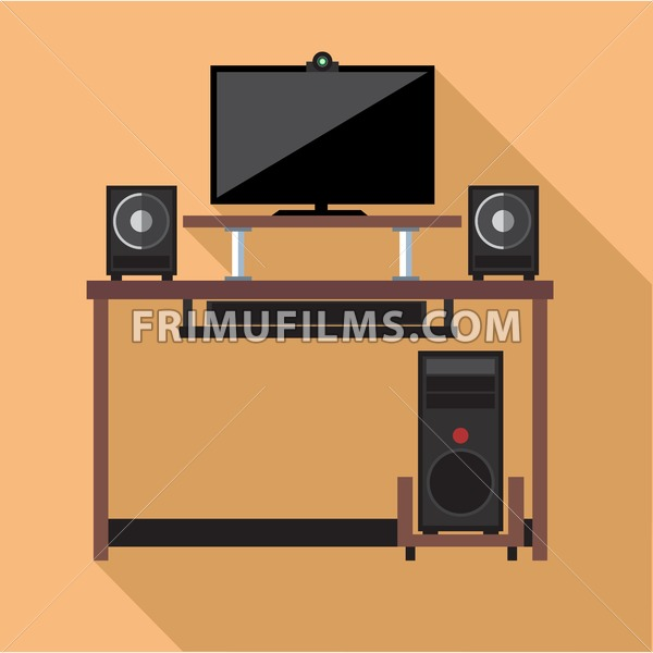 Digital vector pc computer with monitors and web camera set with furniture, flat style - frimufilms.com