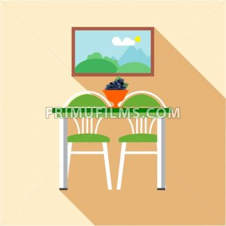 Digital vector picture, grape on table and chairs at the kitchen, flat style - frimufilms.com