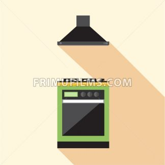 Digital vector picture green and orange kitchen hob set with ventilation, flat style - frimufilms.com