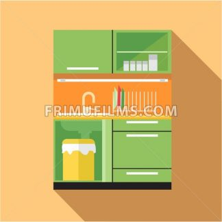 Digital vector picture green and orange kitchen set, flat style - frimufilms.com
