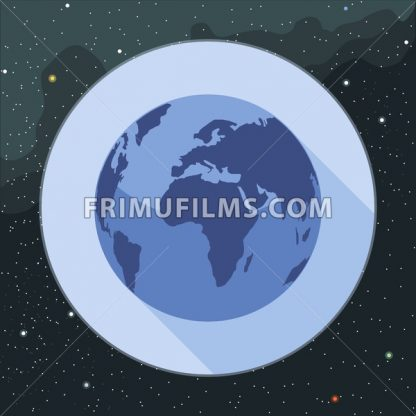 Digital vector planet earth icon, over stelar background, flat style. - frimufilms.com