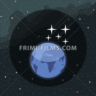 Digital vector planet earth icon with falling stars, over stelar background, flat style. - frimufilms.com