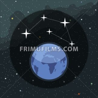 Digital vector planet earth icon with stars and constellation, over stelar background, flat style. - frimufilms.com