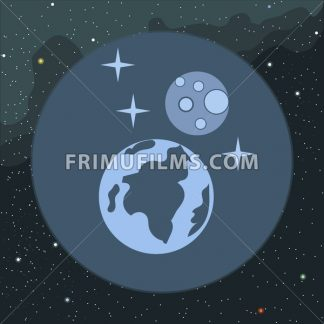Digital vector planet earth icon with stars and moon, over stelar background, flat style. - frimufilms.com