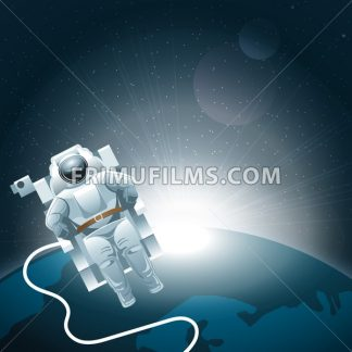 Digital vector planet earth icon with white light and an astronaut moving in space, over stelar background, flat style. - frimufilms.com