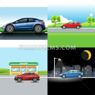 Digital vector red and blue auto car icon set, sport car on road, shop, and in the night. - frimufilms.com