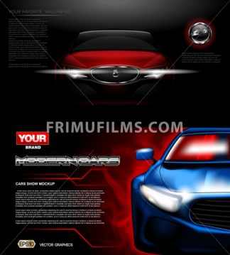 Digital vector red and blue modern sport car mockup, ready for print or magazine design. Your brand, white lights on. Black background. Transparent, realistic 3d, reflection - frimufilms.com