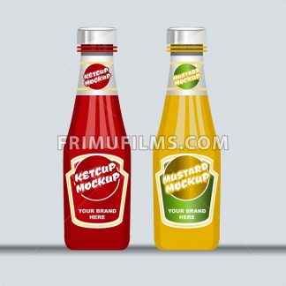 Digital vector red and brown ketchup and mustard plastic and glass bottle mockup, ready for your logo and design, flat style - frimufilms.com