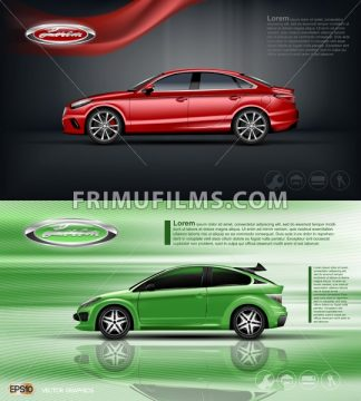 Digital vector red and green model sedan car with black windows mockup, your brand, ready for print ads or magazine design. Dark background with ribbon. Transparent and shine, realistic 3d style - frimufilms.com