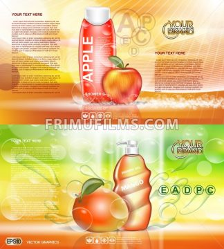 Digital vector red and orange shower gel cosmetic container mockup, your brand, ready for print ads design. Apple fruits and mango soap bubbles. Transparent, shine, realistic, 3d, reflection - frimufilms.com
