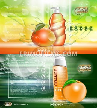 Digital vector red and orange shower gel cosmetic container mockup, your brand, ready for print ads or magazine design. Mango fruits and soap bubbles. Transparent, shine, realistic, 3d, reflection - frimufilms.com