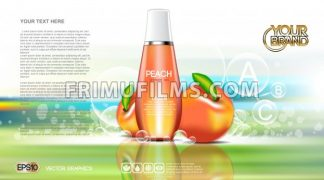 Digital vector red and orange shower gel cosmetic container mockup, your brand, ready for print ads or magazine design. Peach fruits and soap bubbles. Transparent, shine, realistic, 3d, reflection - frimufilms.com