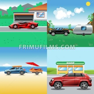Digital vector red, blue, red and black auto car icon set, sport car on road, shop, sand and seaside, suv and racing. - frimufilms.com