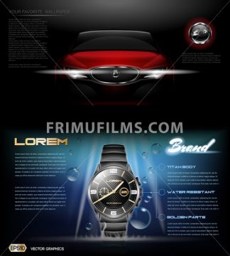 Digital vector red card and dark silver classic man watch mockup with blue bubbles, with your brand, ready for print ads or magazine design. Glossy and shine, realistic 3d style - frimufilms.com