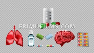 Digital vector red medicine lungs structure and brain infographics of respiratory healthcare mockup and pills container, with your brand, ads or magazine design. White and shine, realistic 3d style - frimufilms.com