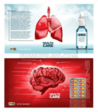 Digital vector red medicine lungs structure and brain infographics of respiratory healthcare mockup and pills, with your brand, ready for print ads or magazine design. White and shine, realistic 3d style - frimufilms.com