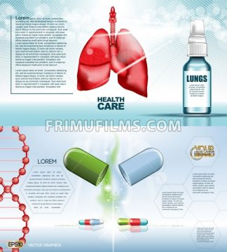 Digital vector red medicine lungs structure infographics of respiratory healthcare mockup and pills, with your brand, ready for print ads or magazine design. White and shine, realistic 3d style - frimufilms.com
