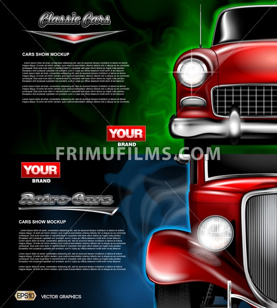 Digital vector red old retro car close up mockup, ready for print or magazine design. Your brand, auto show and exhibition, lights on. Black background, blue and green fog. Transparent, realistic 3d - frimufilms.com