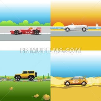 Digital vector red, orange and silver auto car icon set, sport car on road, shop, sun and seaside, suv and racing. - frimufilms.com