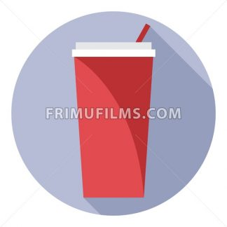 Digital vector red plastic soda drink can with straw in a purple circle, flat style. - frimufilms.com