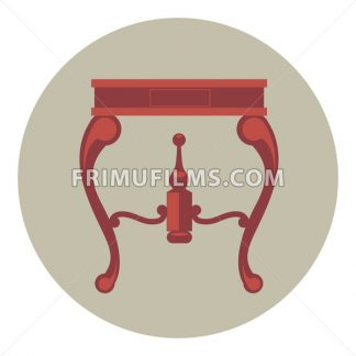 Digital vector red vintage table isolated, flat style - frimufilms.com