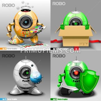 Digital vector robo set, painter, delivery, projector, warrior, orange, green and silver eye borg, 3d style - frimufilms.com