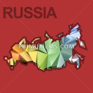 Digital vector russia map with abstract colored triangles and red outline, flat style - frimufilms.com